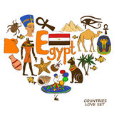 Egyptian symbols in heart shape concept Royalty Free Stock Photo