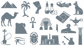 Egyptian symbols. Egyptian icons. Simple vector silhouettes Stock Images