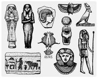 Egyptian symbols, pharaon, scorob, hieroglyphics and osiris head, god vintage, engraved hand drawn in sketch or wood cut Royalty Free Stock Images