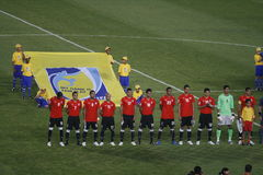 Egyptian Team - FIFA U20 Worldcup. Egyptian team line up at the Egypt vs Paraguay match during the FIFA Worldcup U20 2009 Competition hosted in Egypt Royalty Free Stock Photos