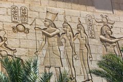 Egyptian Temple. Egyptian Arts Sculpture Wall carving on Egyptian temple stock photo