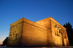 Egyptian temple. Temple of Debod is and ancient Egyptian temple, currently located in Madrid (Spain). It was a gift from Egypt and moved to Madrid as Stock Images
