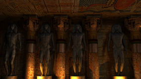 Egyptian Temple Interior. Ancient Egyptian Temple interior with an Ancient Egyptian statues and Egyptian hieroglyphs Royalty Free Stock Photography
