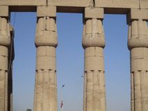 Egyptian temple view carved columns Royalty Free Stock Photos