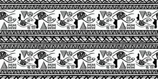 Tribal pattern vector with black and white hand drawn ethnic symbol. Abstract african ancient drawing background ready for fashion. Egyptian Tribal pattern stock illustration
