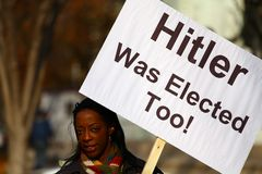 Hitler Elected Protests Placard Stock Photos