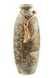 Egyptian Vase. With hieroglyphics isolated on the white background stock photo