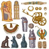Egyptian vector ancient sarcophagus pharaoh jewelry sphinx cat statue of Egypt culture historical architecture in stock photography