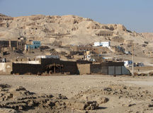 Egyptian village. This village was close to the famous Valley of the Kings on the West Bank at Luxor Stock Image