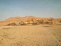Egyptian village in the Desert Stock Photo