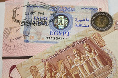 Egyptian visa, moneys and customs stamps Stock Photos