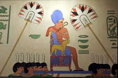 Egyptian wall painting from ancient Egypt. Many ancient Egyptian paintings have survived in tombs, and sometimes temples, due to Egypt`s extremely dry climate royalty free stock photo