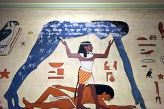 Egyptian wall painting from ancient Egypt. Many ancient Egyptian paintings have survived in tombs, and sometimes temples, due to Egypt`s extremely dry climate stock photo
