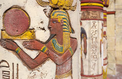 Egyptian wall paintings. Ancient egyptian wall paintings on column Royalty Free Stock Photos
