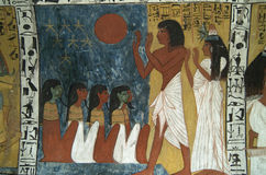 Egyptian Wallpainting. Wallpainting in a tomb of West Thebes, Egypt royalty free stock photography