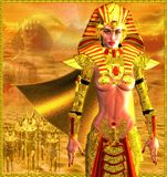 Egyptian Warrior Queen. Warrior Queen. An ancient Egyptian woman who named herself Pharaoh is depicted as a powerful warrior leading an army. Gold abstract Royalty Free Stock Photos