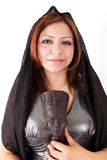 Egyptian Woman. Standing Hiding head of Statue on white Stock Images