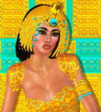 Egyptian woman, beads, beauty and gold in our digital art fantasy scene. Stock Photo
