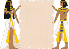 Egyptian Woman and Man Holding Papyrus. Vector illustration of Egyptian woman and man holding papyrus  on white Royalty Free Stock Photography