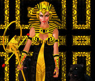 Egyptian Woman Pharaoh with black panther. Modern digital art fantasy. Royalty Free Stock Photo