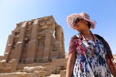 Egyptian woman at Ramesseum temple - Egypt Royalty Free Stock Images