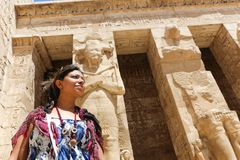 Egyptian woman at temple of Habu Stock Images