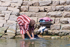 Egyptian woman washing clothes. In the Nile river with traditional muslim clothes Royalty Free Stock Images
