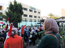 Egyptian women share revolution Stock Photo