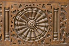 Egyptian Wood Crafts. Details of the wood work decorating an old egyptian home in Azhar area of Cairo... Concentrate on the circle and it will start spinning Royalty Free Stock Photos