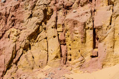 Egyptian yellow mountains. Red and yellow rock background Stock Images