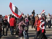 Egyptians celebrating the resignation of President royalty free stock image