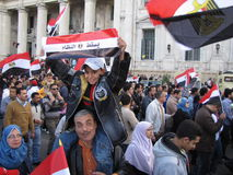 Egyptians demanding resignation of the President Stock Photo