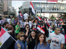 Egyptians demonstrate against Muslim Brotherhood Royalty Free Stock Images