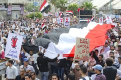 Egyptians demonstrating against Military Council stock photo