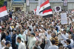 Egyptians demonstrating against Military Council Stock Photography