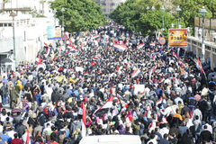 Egyptians demonstrating against military rule Royalty Free Stock Image