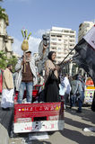 Egyptians demonstrating against military rule stock photos