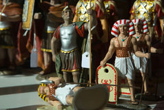 Egyptians and romans. Egyptian and roman nativity high quality figurines for sell, Spain royalty free stock photography