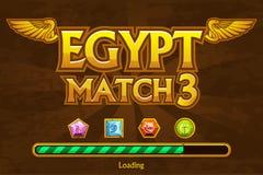 Egyptier match3 på bakgrunds- och juvelsymboler Knapplek och päfyllningslek royaltyfri illustrationer