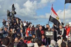 Egyptier som visar mot presidenten Morsi Royaltyfria Foton