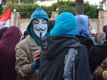 Egyptisch demonstratiesysteem dat masker draagt Stock Fotografie