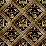 Egyptisch hiërogliefen vector naadloos patroon Afrikaanse etnische bl vector illustratie