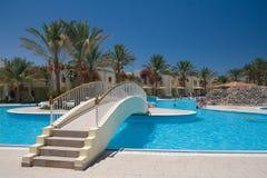 Egyptisch hotel zwembad Stock Foto