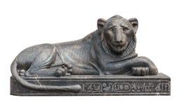 Egyptisch leeuwbeeldhouwwerk Stock Foto's
