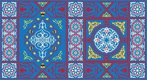 Egyptisch Patroon 1 van de Stof van de Tent blauw Royalty-vrije Stock Foto's
