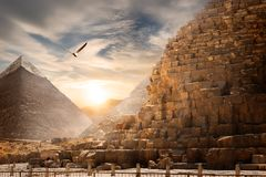 Egyptisch piramideslandschap royalty-vrije stock fotografie
