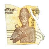 50 Egyptisch pondbankbiljet in vorm van Egypte stock fotografie