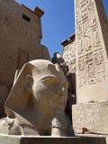 Egyptische antiquiteiten voor de ingang aan de Luxor-Tempel stock foto