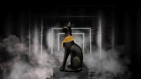 Egyptische asbstractachtergrond, godin van Egypte Bastet stock illustratie