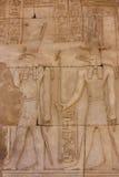 Egyptische beelden van goden Horus en Sobek Stock Foto